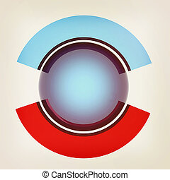 Button sphere and two poles. 3D illustration. Vintage style.