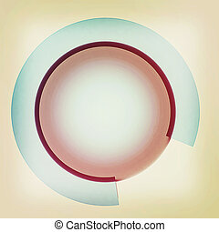 Button sphere with a semicircle. 3D illustration. Vintage style.
