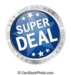 colored button with banner and text Super Deal
