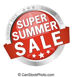 button Super Summer Sale - colored button with banner and...