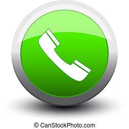 button telephone call 2d green