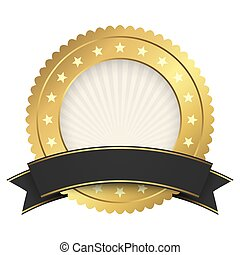 Button template gold with black banner
