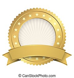 Button template gold with golden banner