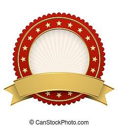 Button template red with golden banner
