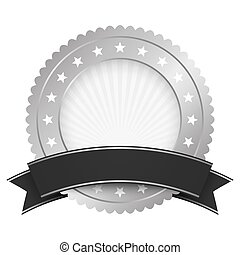 Button template silver with black banner