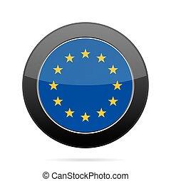 button., union., drapeau, noir, brillant, rond, européen