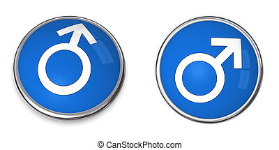 Button White Male Gender Sign on Blue