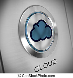 button with a cloud symbol in the center, metal background, blue color. the word cloud is written at the bottom