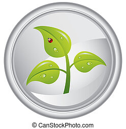 Button with a green tree, vector