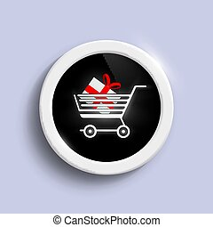 Button with a shopping cart