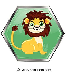 Button with animal lion