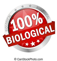 Button with Banner 100% biological - EPS 10 vector with...
