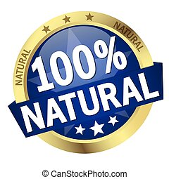 Button with Banner 100% natural