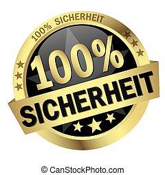 Button with banner 100% Sicherheit