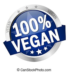Button with Banner 100% vegan
