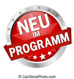 Button with Banner New in programm (in german) - EPS 10 ...