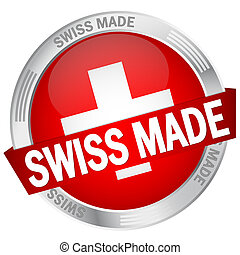 Button with banner Swiss Made