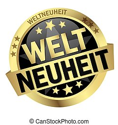 Button with banner Weltneuheit