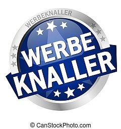 Button with banner Werbeknaller