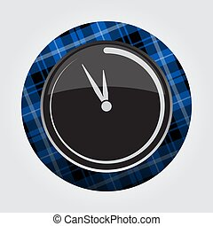 button with blue, black tartan - last minute clock