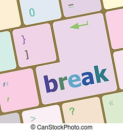 Button with Break on Computer Keyboard. Business Concept vector illustration