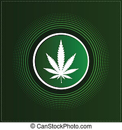 Button with cannabis leaf
