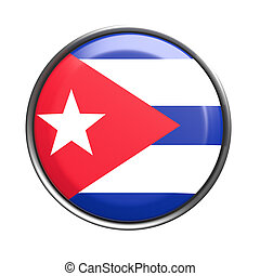 Button with Cuba flag