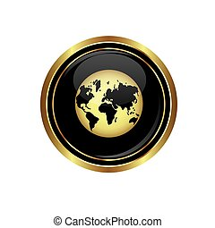 Button with earth globe icon