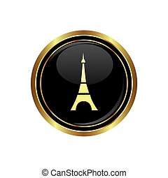 Button with Eiffel tower icon