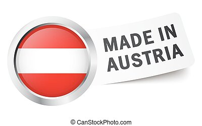"Button with flag "" MADE IN AUSTRIA """