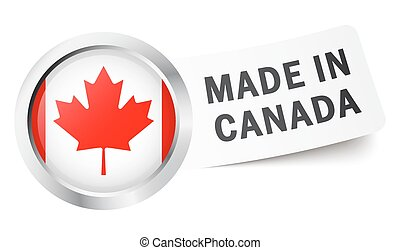 "Button with flag "" MADE IN CANADA """