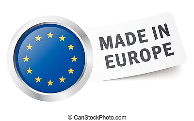 "Button with flag "" MADE IN EUROPE """