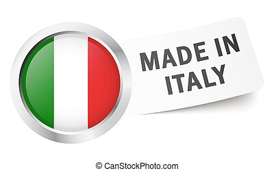 "Button with flag "" MADE IN ITALY """