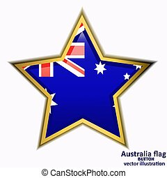 Button with flag of Australia. Vector.