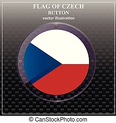 Button with flag of Czech Republic. Vector illustration