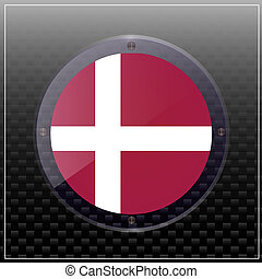 Button with flag of Denmark. Illustration.
