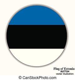 Button with flag of Estonia. Vector.