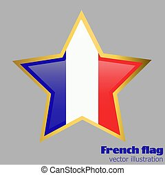 Button with flag of France. Vector.