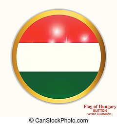 Button with flag of Hungary. Vector illustration