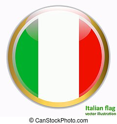Button with flag of Italia. Vector.