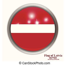 Button with flag of Latvia. Illustration.