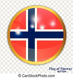Button with flag of Norway. Vector.