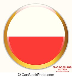Button with flag of Poland. Vector.