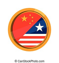 Button with flag of United States and China