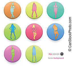 Button with girls inside. Vector design.