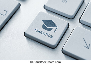 Online education - Button with graduation cap icon on a ...