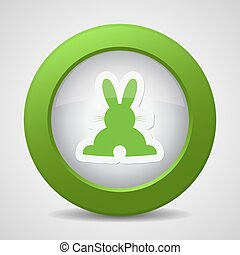 button with green back Easter bunny