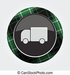 button with green, black tartan - cute car icon
