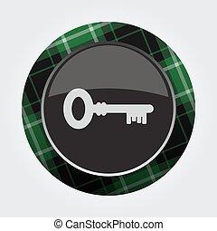 button with green, black tartan - key icon