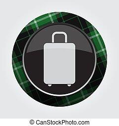 button with green, black tartan - suitcase icon